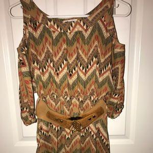 Cold shoulder printed dress with belt